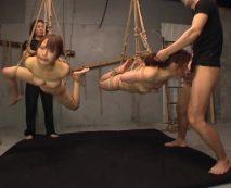 ギャル3人を中吊緊縛してSM拷問!凶悪チンポ数本で滅茶苦茶に陵辱され絶叫悶絶…レイプ動画