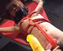 【無修正】ギャルが磔拘束され玩具責めで感じるも体をくねらせるだけ…